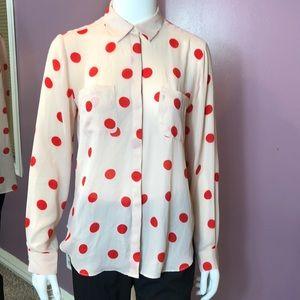 LOFT Polka Dot Button-Up Long Sleeve Collar Shirt